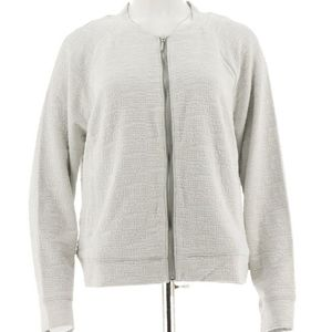 Plus Size H by Halston Gray Zip up Motto jacket